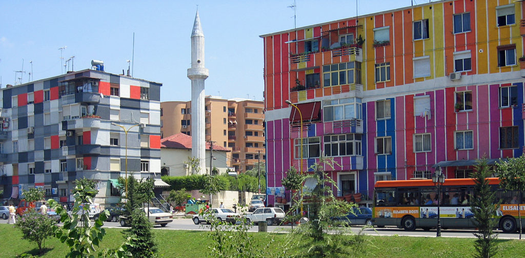 Image result for colorful buildings tirana